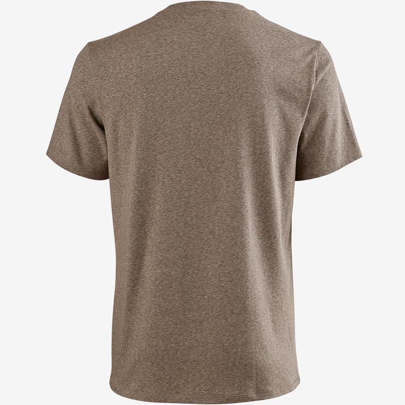 T-Shirt 500 regular Pilates Gym douce homme marron chiné