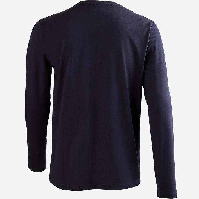 Camiseta Manga Larga Gimnasia y Pilates Domyos 100 Regular Hombre Azul Asfalto
