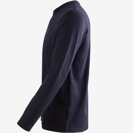 04002e631ab9 100 Regular-Fit Long-Sleeved Pilates & Gentle Gym T-Shirt - Navy Blue