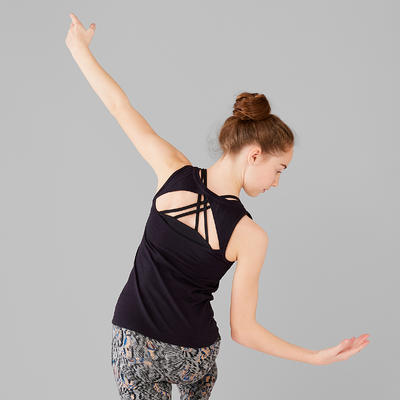 Girls' Open-Back Modern Dance Tank Top - Black