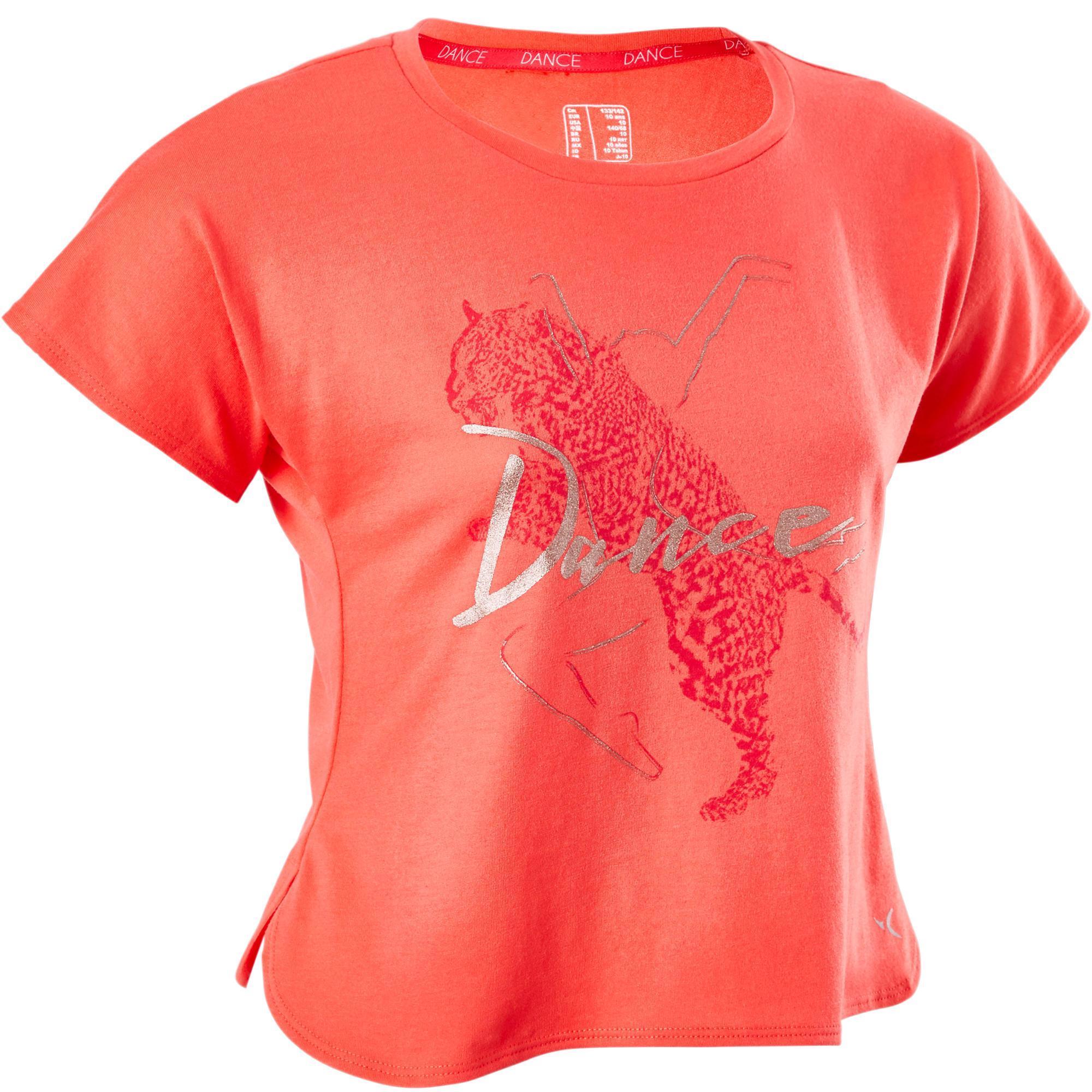 Domyos Meisjes T-shirt voor moderne dans roze