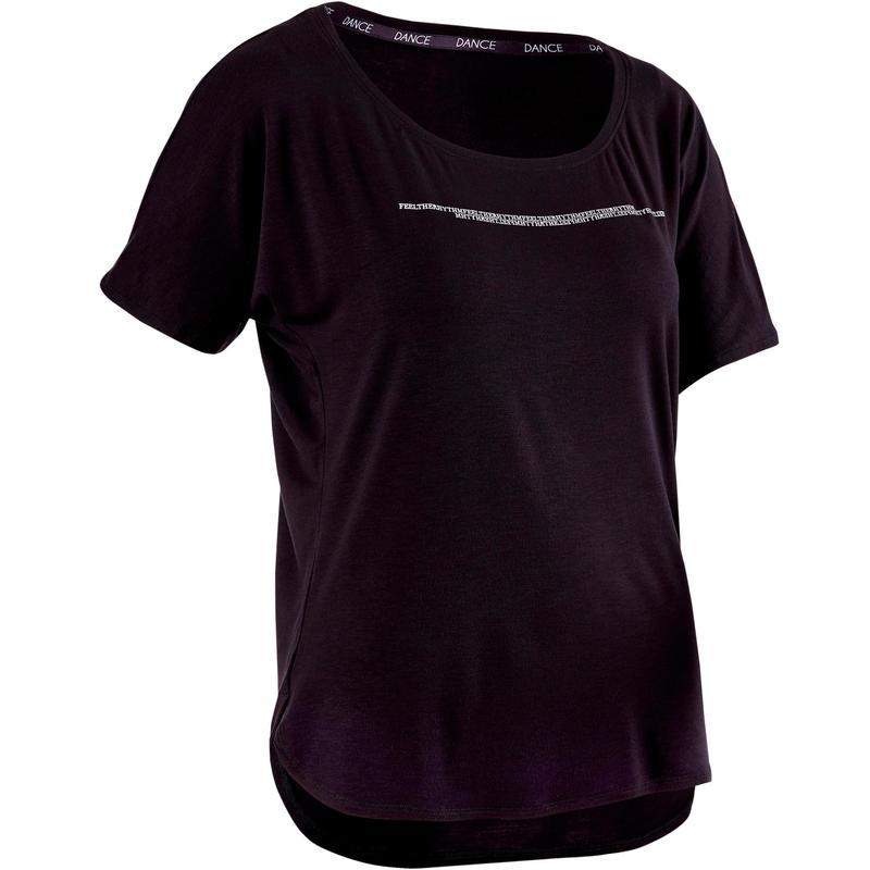 b3eca39f0 Camiseta Danza Moderna Domyos Mujer Negro Manga Corta