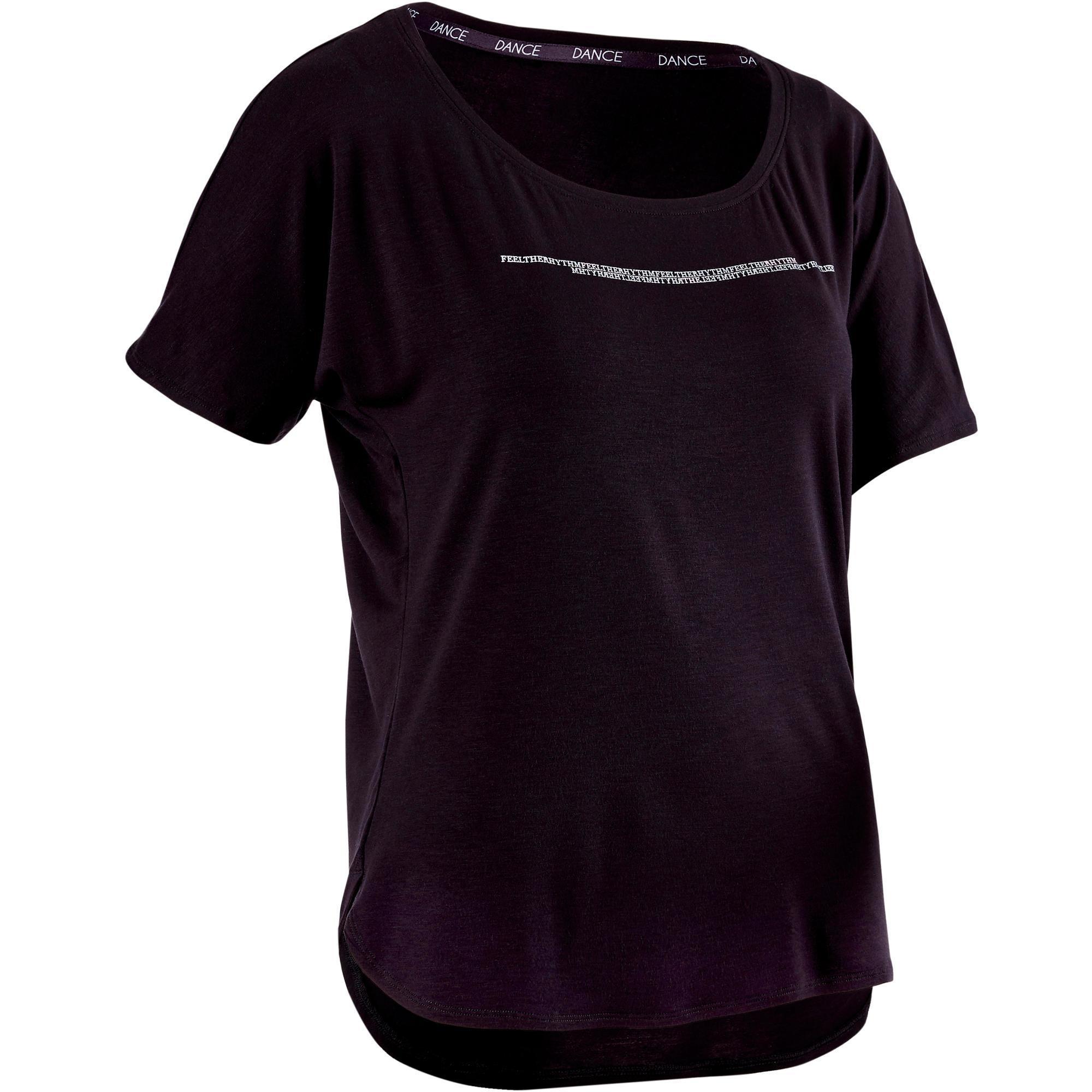 Domyos Kort dames T-shirt voor moderne dans zwart