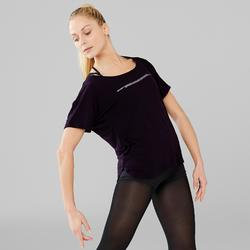 Kort dames T-shirt voor moderne dans zwart