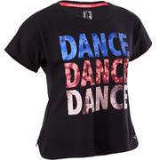 Črna plesna majica s kratkimi rokavi za deklice