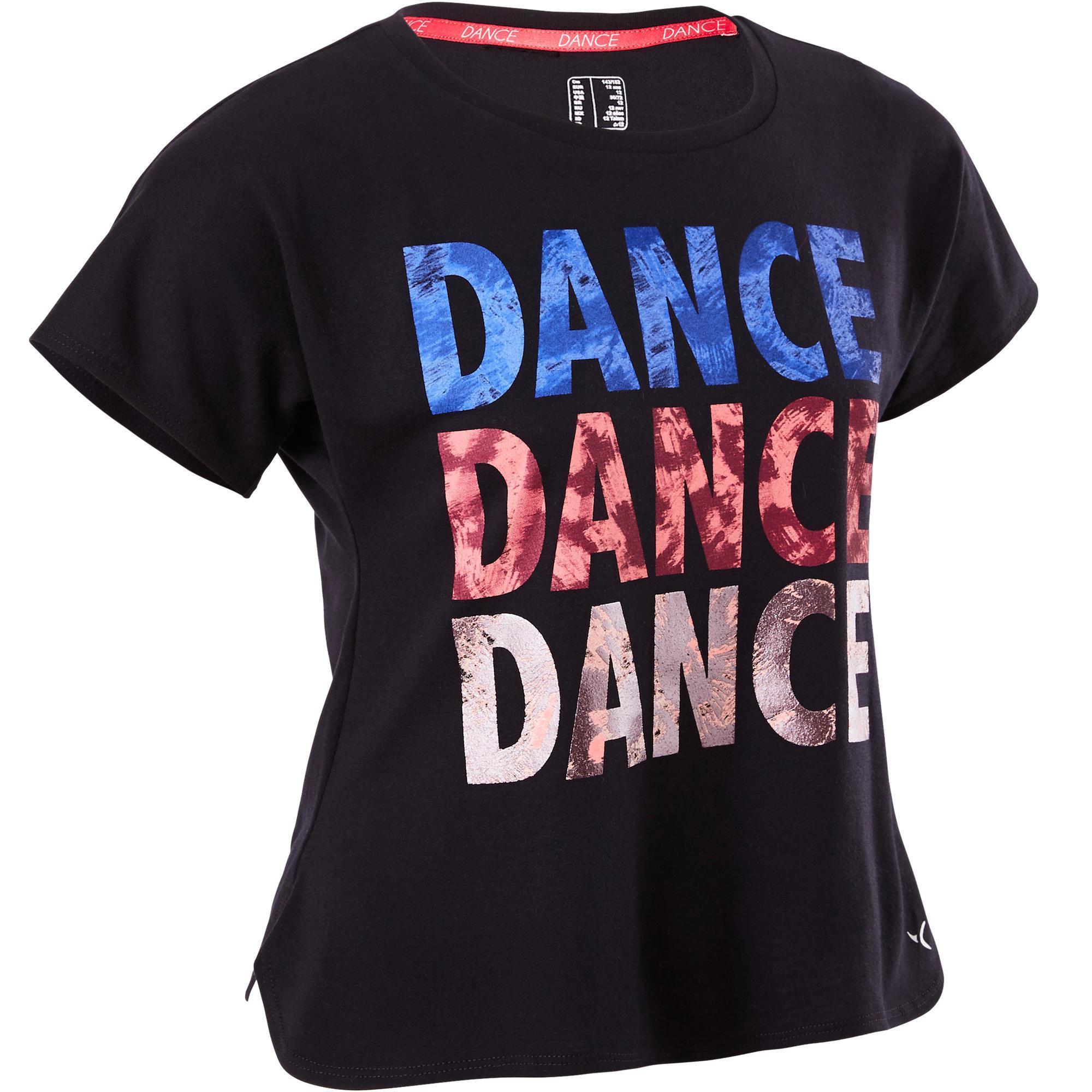 Domyos Meisjes T-shirt voor moderne dans zwart