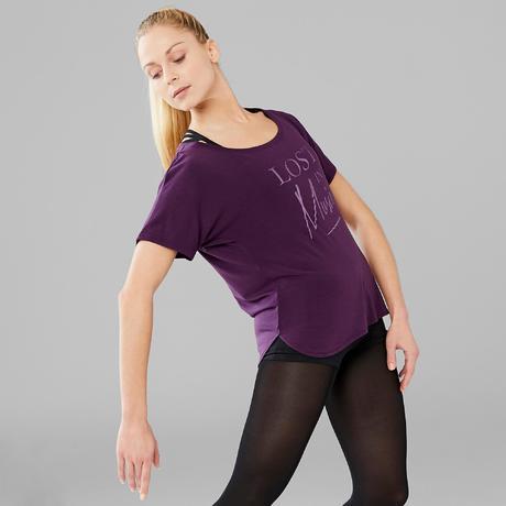 6803a1e7a93a7 Tee-shirt court de danse moderne femme violet   Domyos by Decathlon