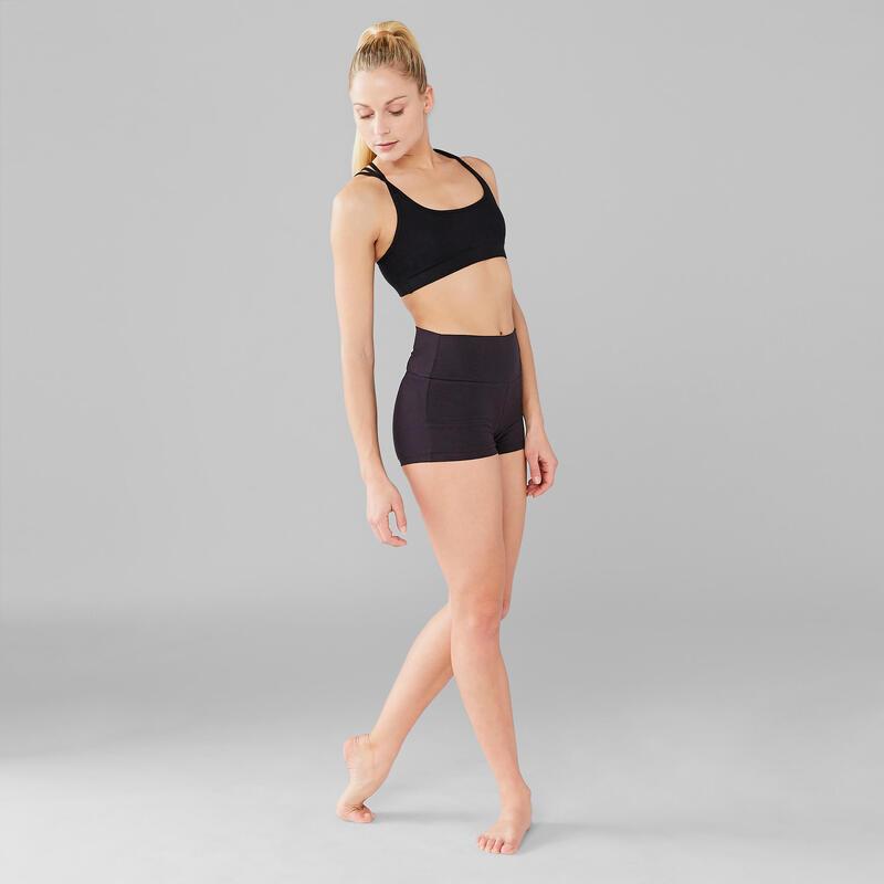 Short de danse moderne noir moulant femme
