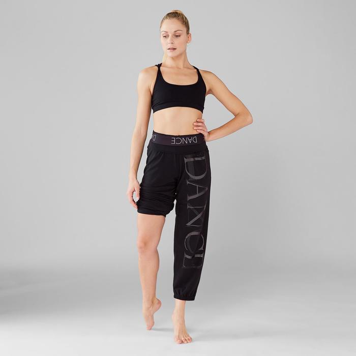 Dansbroek met elastische tailleband en elastieken onderaan dames zwart
