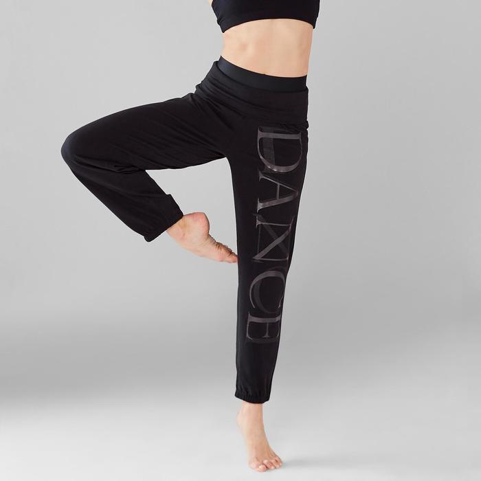 Pantalon de danse taille et bas de jambe élastiqués femme noir
