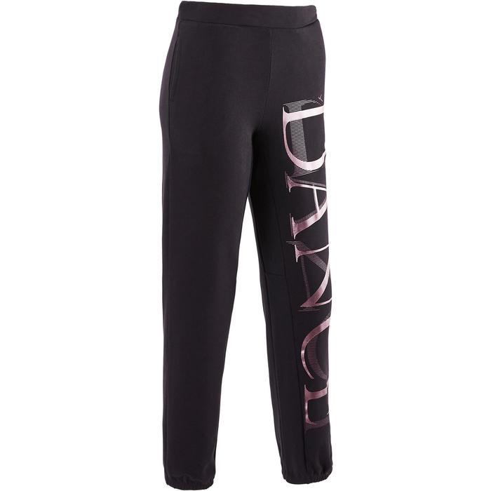 Pantalon de danse taille et bas de jambe élastiqués fille noir