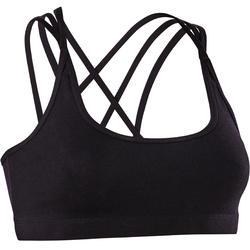 Sporttopje voor moderne dans dames zwart smalle gekruiste bandjes