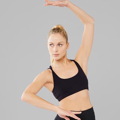 Brassière noire de danse moderne femme à fines bretelles croisées