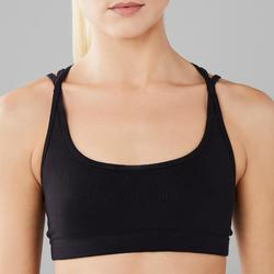 Women's Modern Dance Crop Top with Thin Crossed Straps - Black