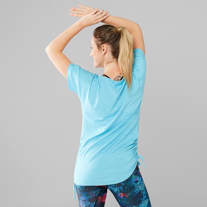 Camiseta Dance Fitness Domyos Mujer Turquesa Manga Corta Ajustable