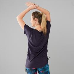 Camiseta Dance Fitness Domyos Mujer Gris Manga Corta Ajustable