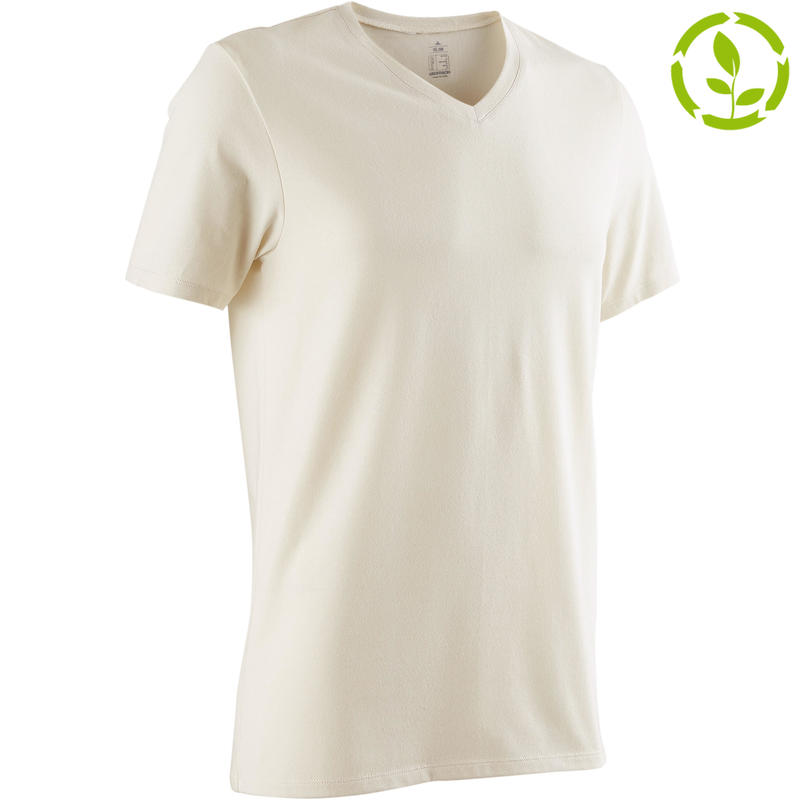 94a77a81d All Sports>Gym Stretching>Gym Stretching Men's Apparel>T-Shirts>500 Slim-Fit  V-Neck Pilates & Gentle Gym T-Shirt - Beige. DOMYOS