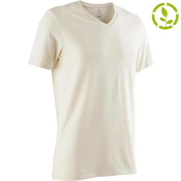 T-shirt 500 V-hals slim fit pilates en lichte gym greige