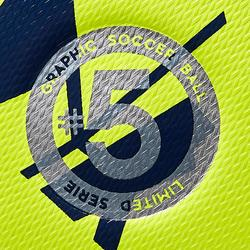 BALLON DE FOOTBALL HYBRIDE F500 LIGHT TAILLE 5 GRAPHIC JAUNE BLEU