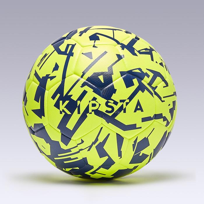 Ballon de football hybride F100 light taille 5 graphic jaune bleu