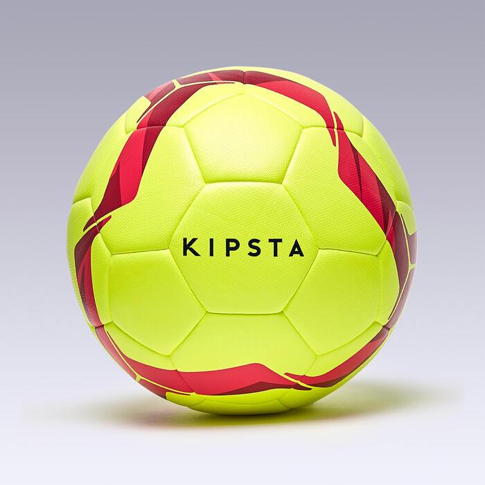 Balón de fútbol híbrido F100 light talla 5 amarillo fluo y rosa