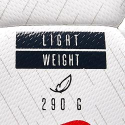 BALLON DE FOOTBALL HYBRIDE F100 LIGHT TAILLE 4 BLANC ORANGE ET BLEU