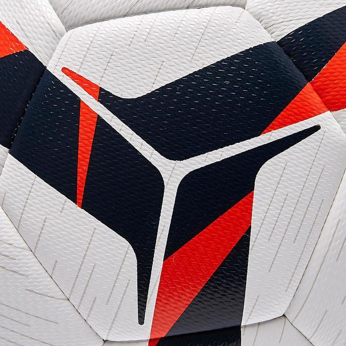 Voetbal F100 hybride maat 4 wit oranje en blauw