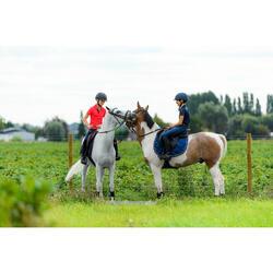 Pantalón Equitación Fouganza 100 Light Niño Azul Marino y Rosa Badana Tela