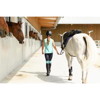 Camiseta Equitación Fouganza 100 Niño Turquesa y Azul Marino Sin Mangas