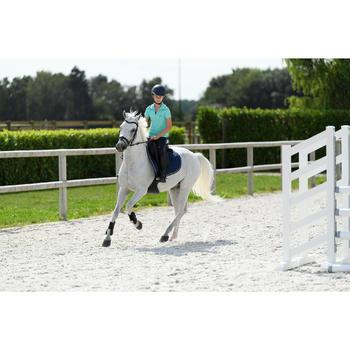 Camiseta sin mangas equitación niña 100 turquesa y azul marino