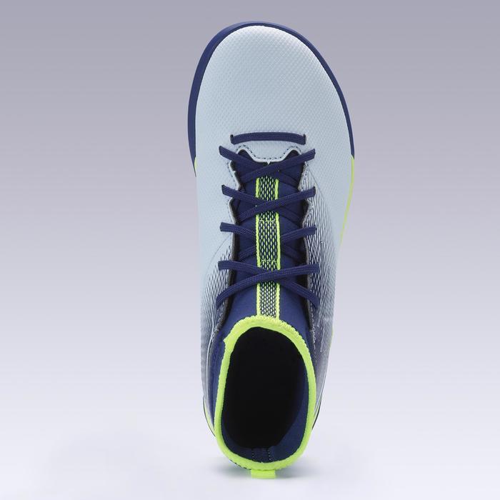 Chaussure de football enfant montante pour terrains durs AGILITY 500 grise jaune