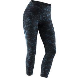 女款皮拉提斯與溫和健身7/8分緊身褲520 - 黑色/藍綠色印花