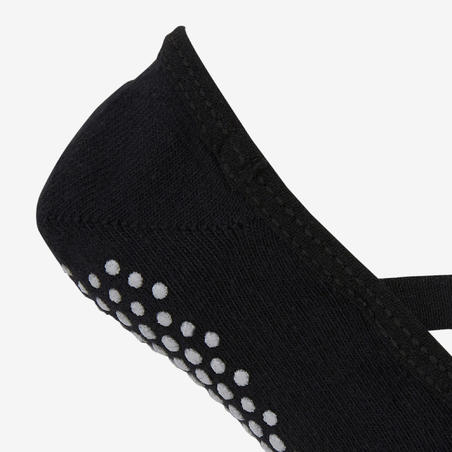 500 Kaus Kaki Balet Anti-Selip Pilates & Senam Ringan Wanita - Hitam