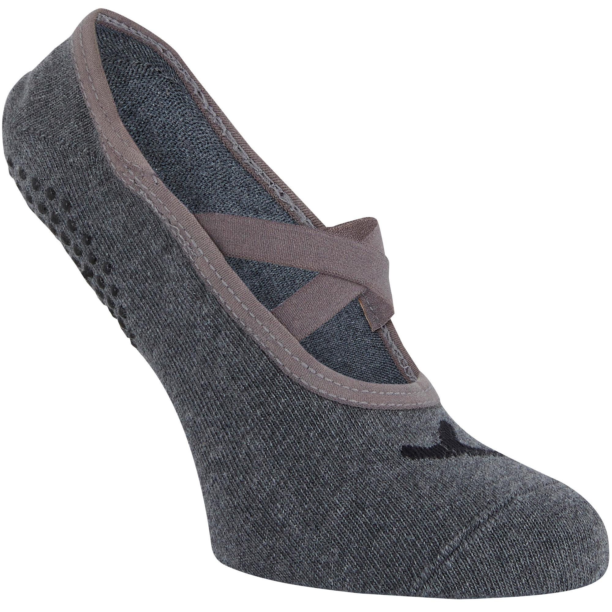 Ballerina-Socken 500 Pilates & sanfte Gymnastik Damen hellgrau | Schuhe > Ballerinas | Domyos