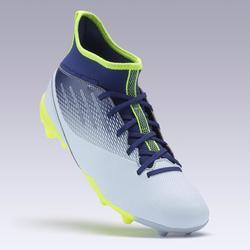 Chaussure de football enfant AGILITY 500 montante semelle MG gris et bleu