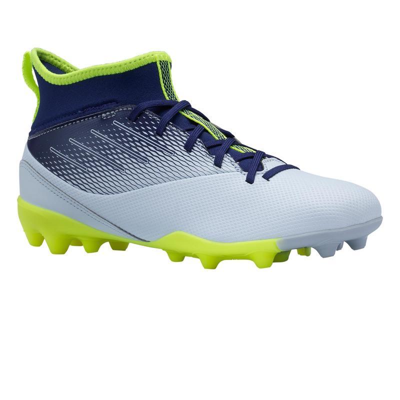 Voetbalschoenen voor kinderen Agility 500 hoog MG-zool grijs/blauw