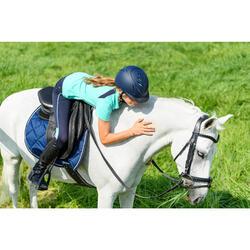Polo manga corta equitación júnior 500 MESH turquesa y azul marino