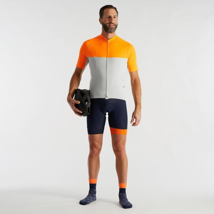 Kurze Fahrrad-Trägerhose Rennrad RC 100 Herren navy/orange