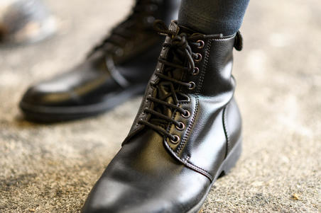 Bottes à lacets équitation adulte 500 noir