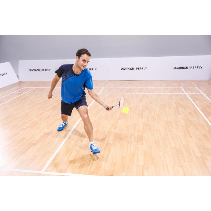 Badmintonracket BR190 voor volwassenen blauw/rood
