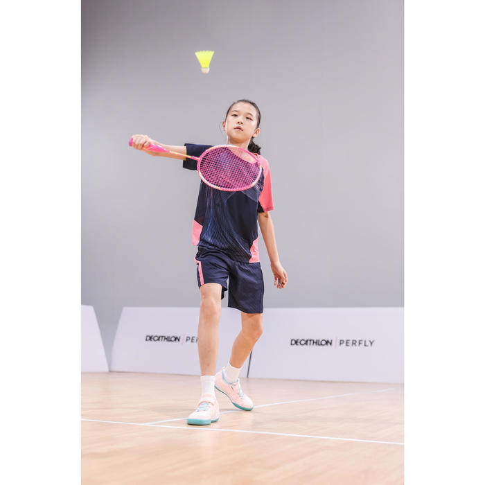T-SHIRT de badminton JUNIOR 560 - MARINE ROSE