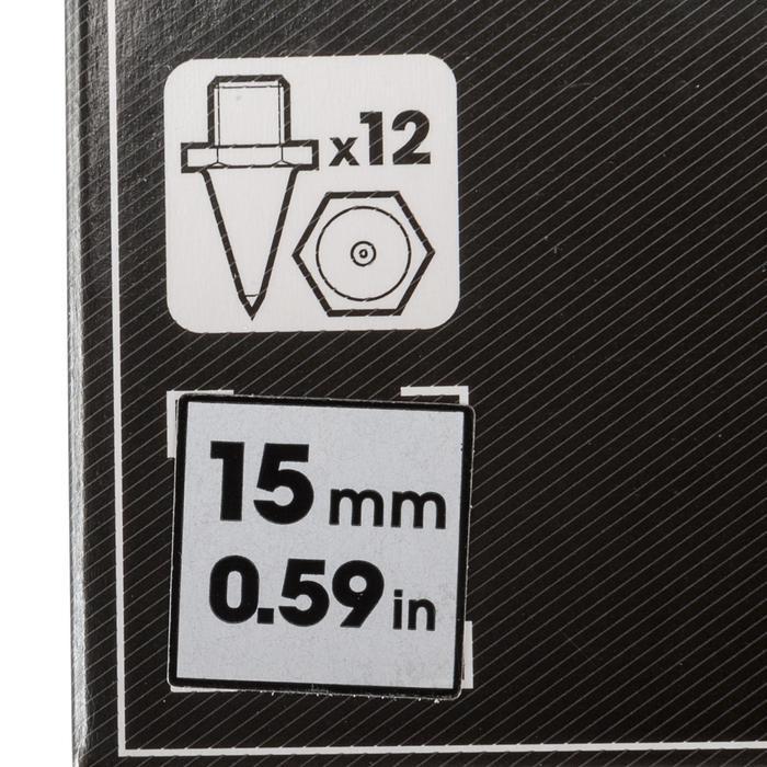 Set van 12 zeskantspikes voor atletiekschoenen 15 mm