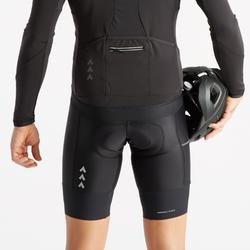 Kurze Radhose mit Trägern Rennrad RC 500 mit Tasche schwarz