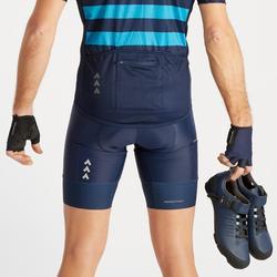 Fietsbroek voor heren RC500 met zakje en bretels marineblauw