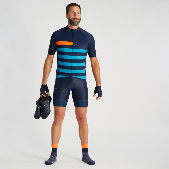 Cuissard vélo route à bretelles TRIBAN RC500 bleu marine avec poche
