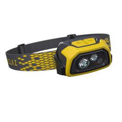 Linterna frontal de trekking y senderismo TREK 900 USB. 400 lúmenes. Amarillo.