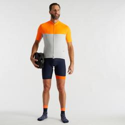 Fietsshirt met korte mouwen warm weer heren wielertoerisme RC100 grijs/oranje