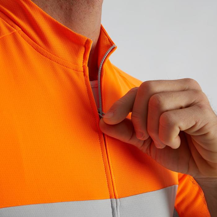 MAILLOT MANCHES COURTES TPS CHAUD VELO ROUTE HOMME CYCLOTOURISME RC100 GRIS ORA