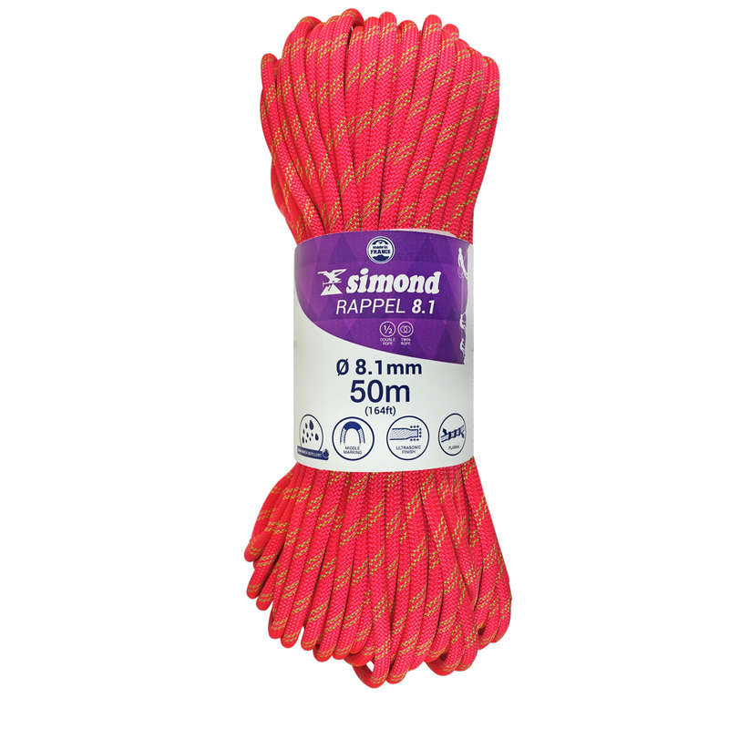 MOUNTAINEERING & MULTIPITCH ROPES Climbing - RAPPEL 8.1 MM x 50 M Pink SIMOND - Climbing