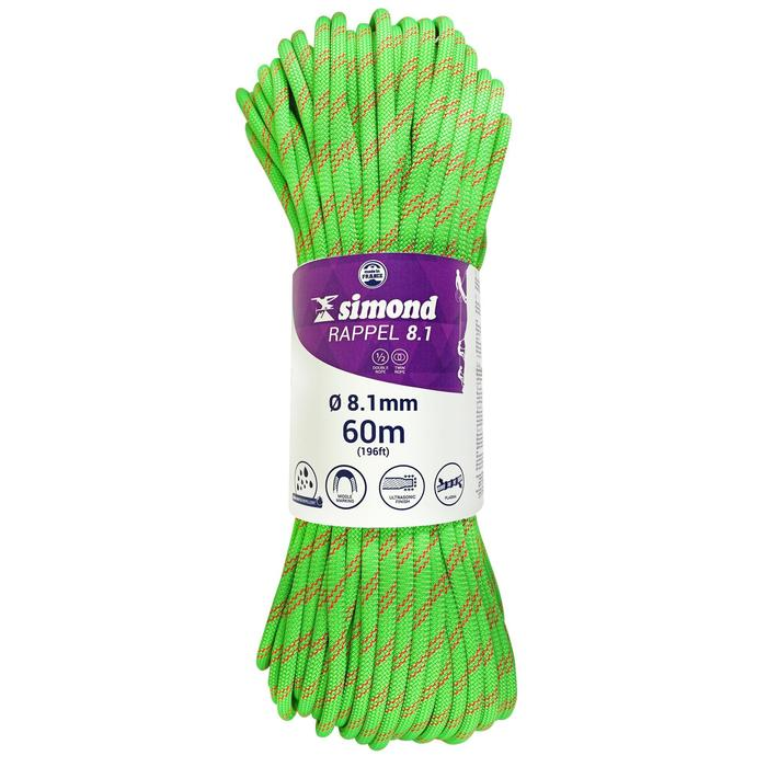 Cuerda Doble Escalada Alpinismo Simond Rappel 8,1 mm x 60 m Verde